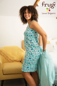 Frugi GOTS Organic Topaz Blue Sika Deer Maternity And Breastfeeding Nightie