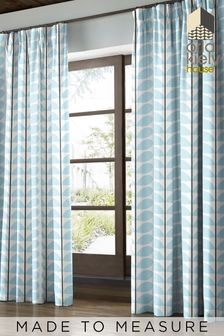 Two Colour Stem Powder Blue Made To Measure Curtains by Orla Kiely