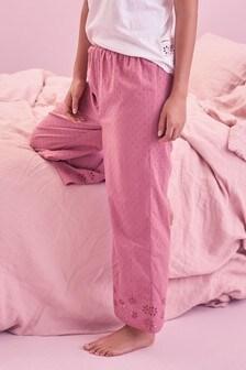 Pink Cotton Broderie Pyjama Pants