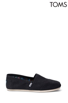 TOMS Black Canvas Classic Espadrille Shoes