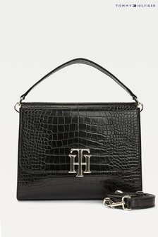 Tommy Hilfiger Black Lock Croco Satchel Bag