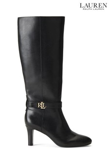 Lauren Ralph Lauren Black Ardington Leather Heel Boots