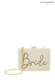 Accessorize Cream Bride Beaded Hardcase Clutch