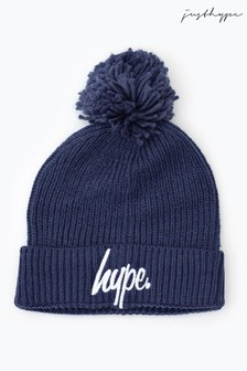 Hype. Steel Blue Knit Ribbed Bobble Beanie