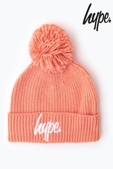 Hype. Knit Ribbed Bobble Beanie