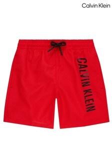 Calvin Klein Red Intense Power Drawstring Swim Shorts
