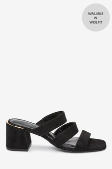 Black Strappy Block Heel Mule Sandals