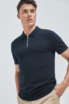 Navy Premium Zip Neck Polo Shirt