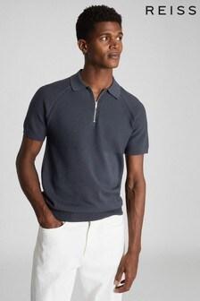 Reiss Grey Columbus Cotton Zip Neck Polo Shirt