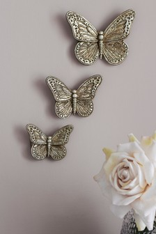 Set of 3 Butterfly Wall Plaques