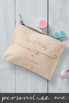 Cream Personalised Mrs To Be Small Cosmetic Bag