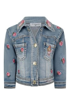 Baby Girls Blue Denim Rose & Teddy Jacket