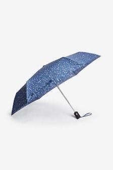 Navy Spot N Print Auto Open/Close Umbrella