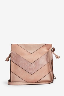 Pale Pink Spliced Texture Mix Drawstring Bag