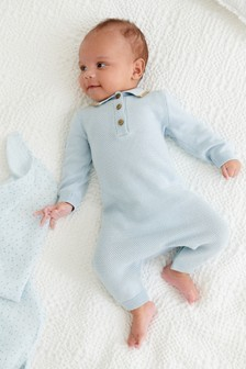 Blue Knitted Polo Romper (0mths-3yrs)