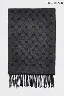 River Island Grey Monogram Scarf