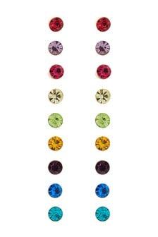 Multi Rainbow Stud Earrings 9 Pack