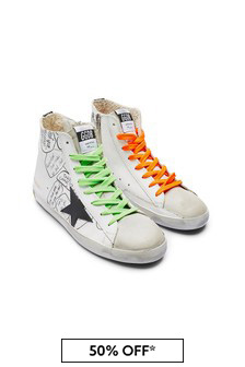 Kids White Leather High Top Star Trainers
