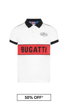 قميص بولو قطن أبيض أولادي Bugatti