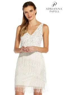 Adrianna Papell White Short Beaded Fringe Dress