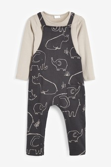 Charcoal Elephant Jersey Dungarees And Bodysuit Set (0mths-2yrs)