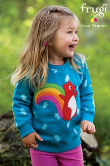 Frugi GOTS Organic Cosy Teal And Squirrel Appliqué Sweatshirt