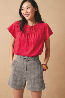 Red Embroidered Yoke Top