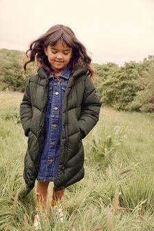 Khaki Green Shower Resistant Chevron Duvet Padded Jacket (3-16yrs)