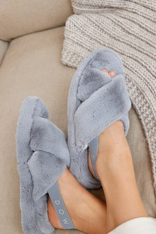 Grey Crossover Platform Slider Slippers