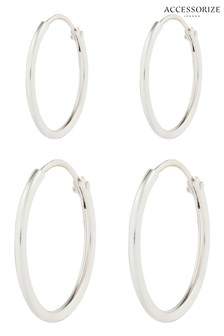 Accessorize Sterling Silver Mini Plain Hoops Two Pack