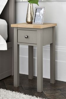 Dove Grey Malvern Slim 1 Drawer Bedside Table