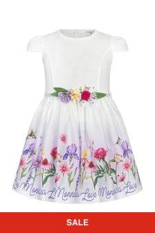 Monnalisa Girls Cream Cotton Dress