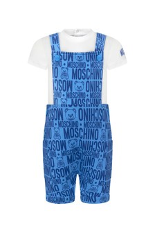 Moschino Baby Boys Blue Cotton Outfit