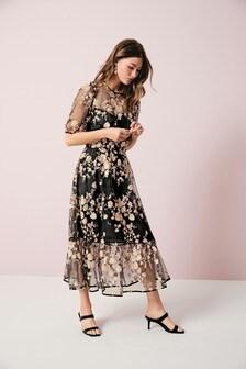 Monochrome Sequin Floral Mesh Dress