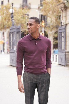 Plum Knitted Poloshirt