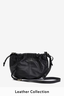 Black Leather Drawstring Across Body Bucket Bag