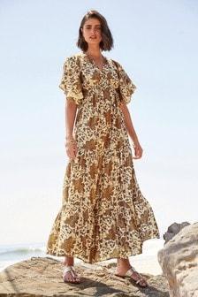 Rose Gold Metallic Halter Neck Dress