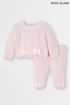 River Island Pink Lace Frill Neck Jumper Set