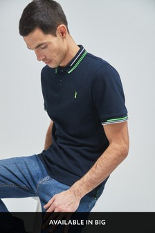Navy Neon Tipped Regular Fit Poloshirt