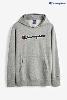Champion Kids Large Script Logo Hooded Sweatshirt