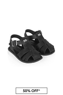 Boys Black Leather Sandals