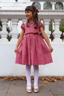 Trotters London Red Bonnie Willow Ditsy Floral Dress