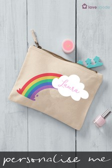 Personalised Rainbow Cloud Cosmetic Bag by Loveabode