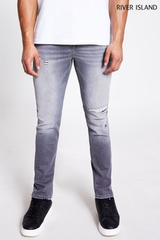 River Island Grey Cable Stetson Slim Rip Jeans