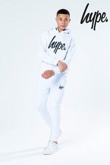 Hype. White Overhead Hoody and Jogger Set