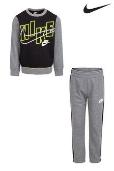Nike Little Kids Grey Crew And Joggers Tracksuit