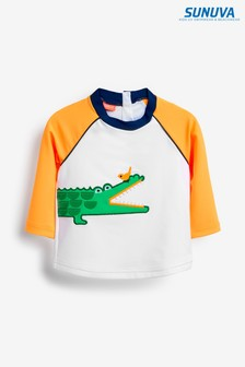 Sunuva White Crocodile Long Sleeve Rash Vest