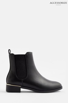 Accessorize Black Metal Heel Chelsea Boots