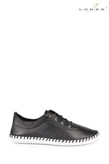 Lunar Black Leather Plimsolls