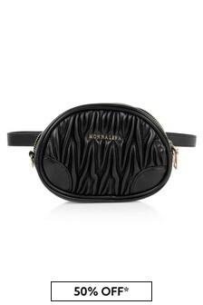 Girls Black Faux Leather Shoulder Bag